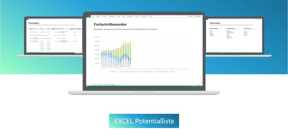 Excel Potentialliste zur Nachverfolgung der Umsetzung und Präsentationen